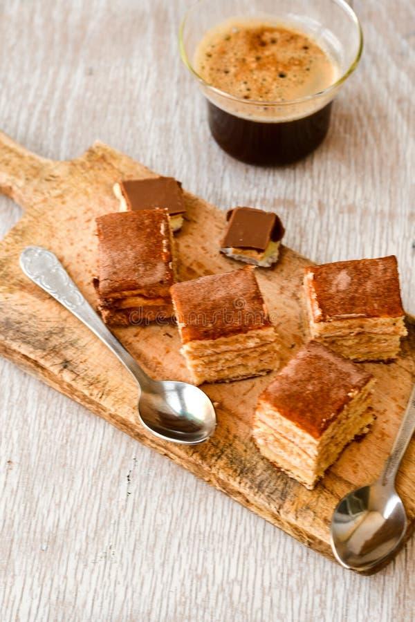 torta y café del cacao imagen de archivo