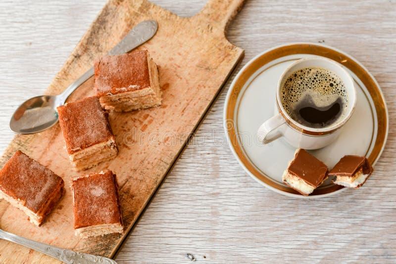 torta y café del cacao fotografía de archivo
