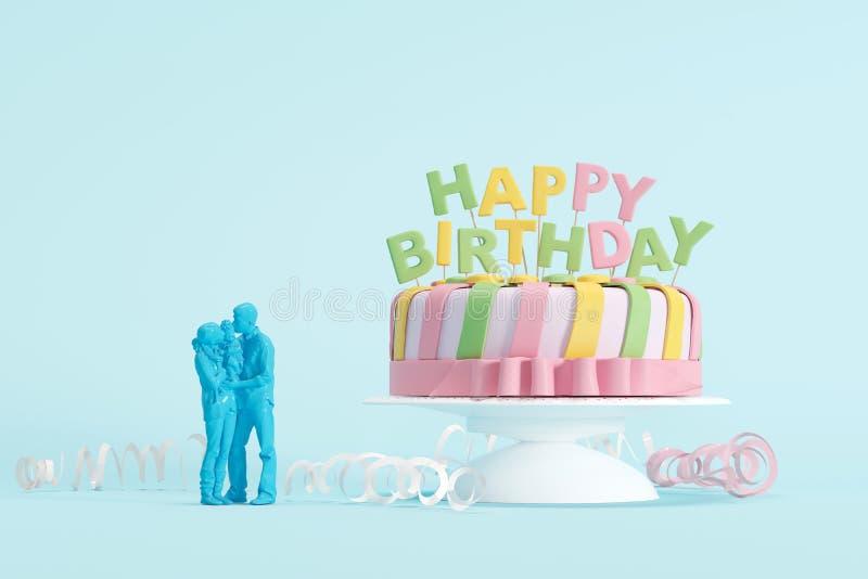 Torta y familia mínimas de cumpleaños en fondo azul en colores pastel foto de archivo