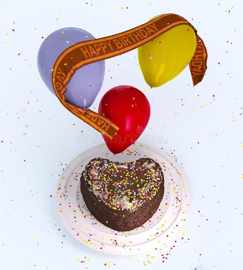 Torta y globos decorativos del cumpleaños stock de ilustración