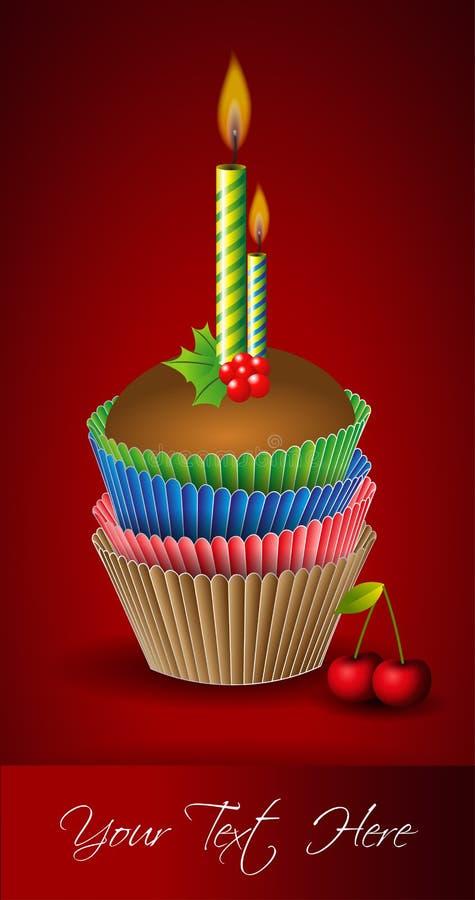 Torta y vela de la taza stock de ilustración