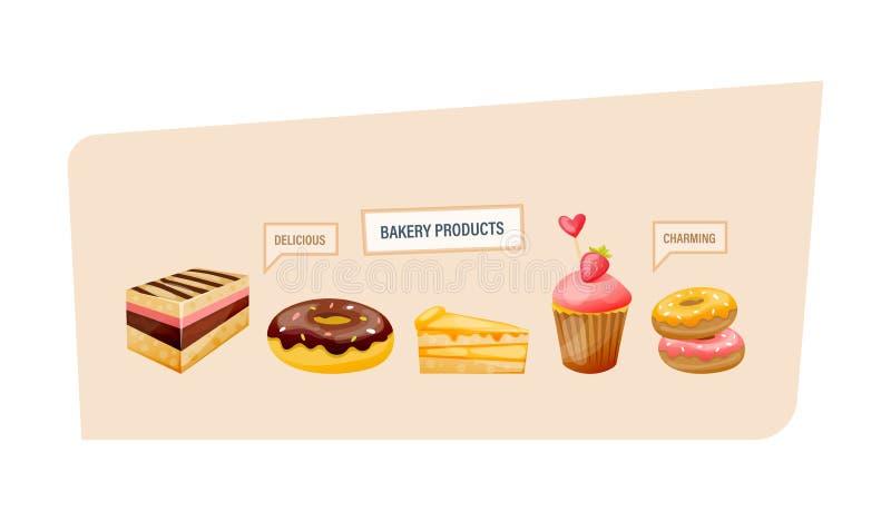 Tortas, anillos de espuma con el esmalte, rebanadas de torta, magdalenas con las bayas libre illustration