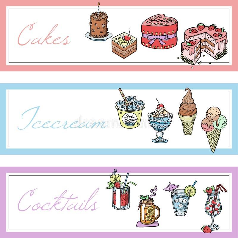 Tortas, bebidas, sistema del helado del ejemplo del vector de las banderas Coctails con la fruta y las bayas en vidrios con la pa libre illustration