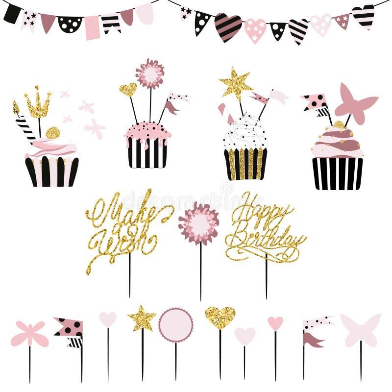 Tortas celebradoras con el sistema de las decoraciones, primeros, velas y stock de ilustración