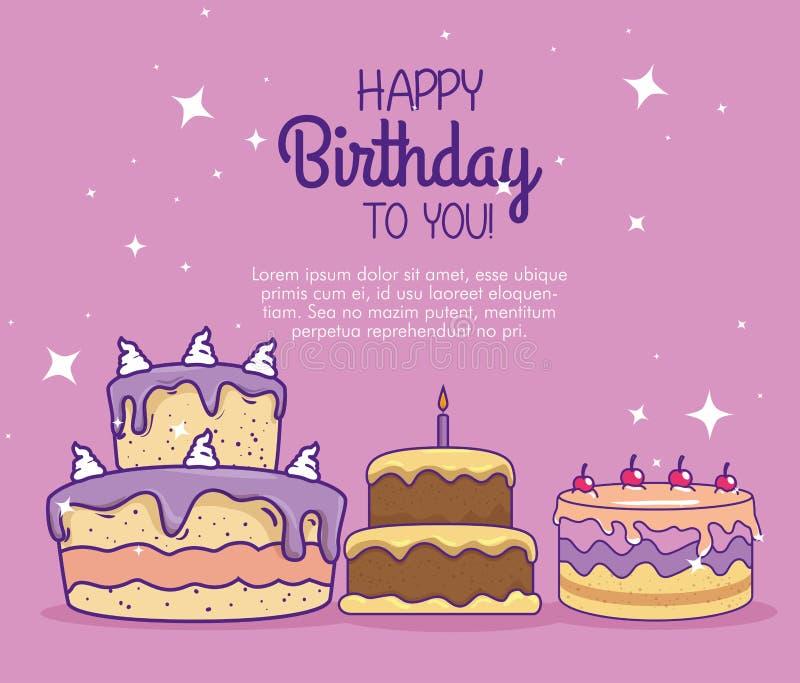 Tortas con las velas y cherrys al feliz cumpleaños ilustración del vector