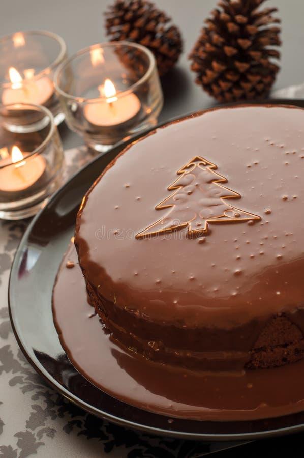 Tortas de chocolate dulce que fijan para la Navidad en dar fotografía de archivo