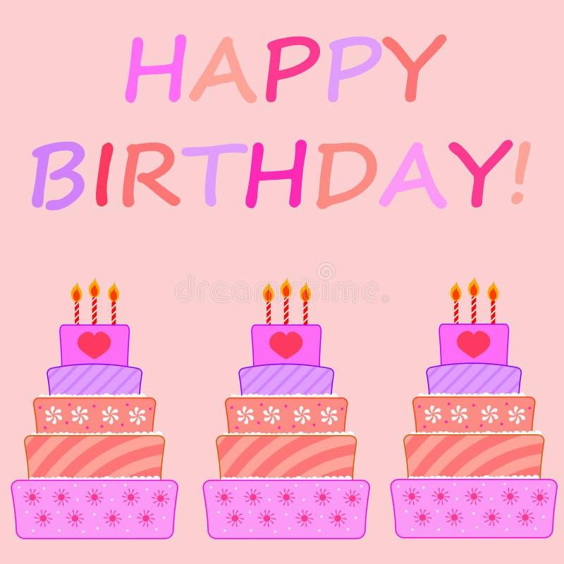 Tortas de cumpleaños ilustración del vector