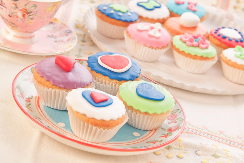 Tortas decorativas, desayuno. foto de archivo