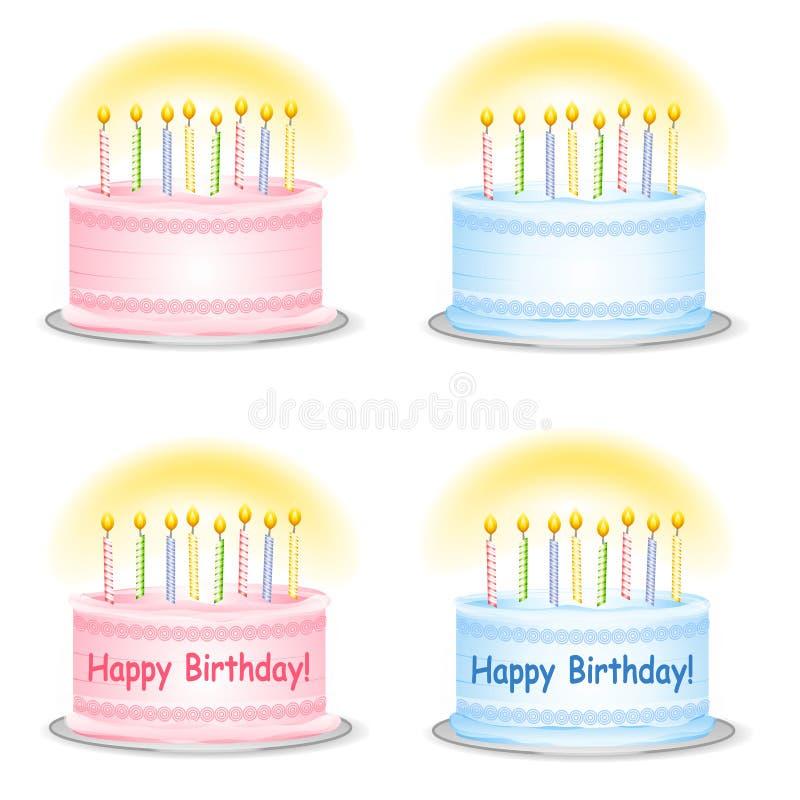 Tortas del cumpleaños llano y feliz stock de ilustración