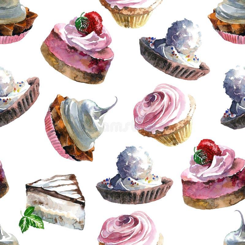 Tortas del dulce de la acuarela stock de ilustración