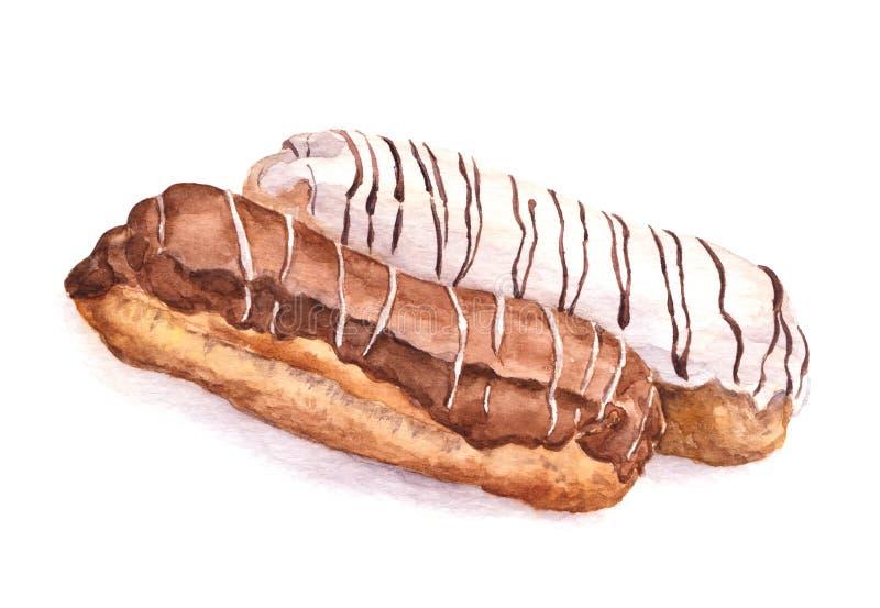 Tortas del Eclair - imagen pintada acuarela libre illustration