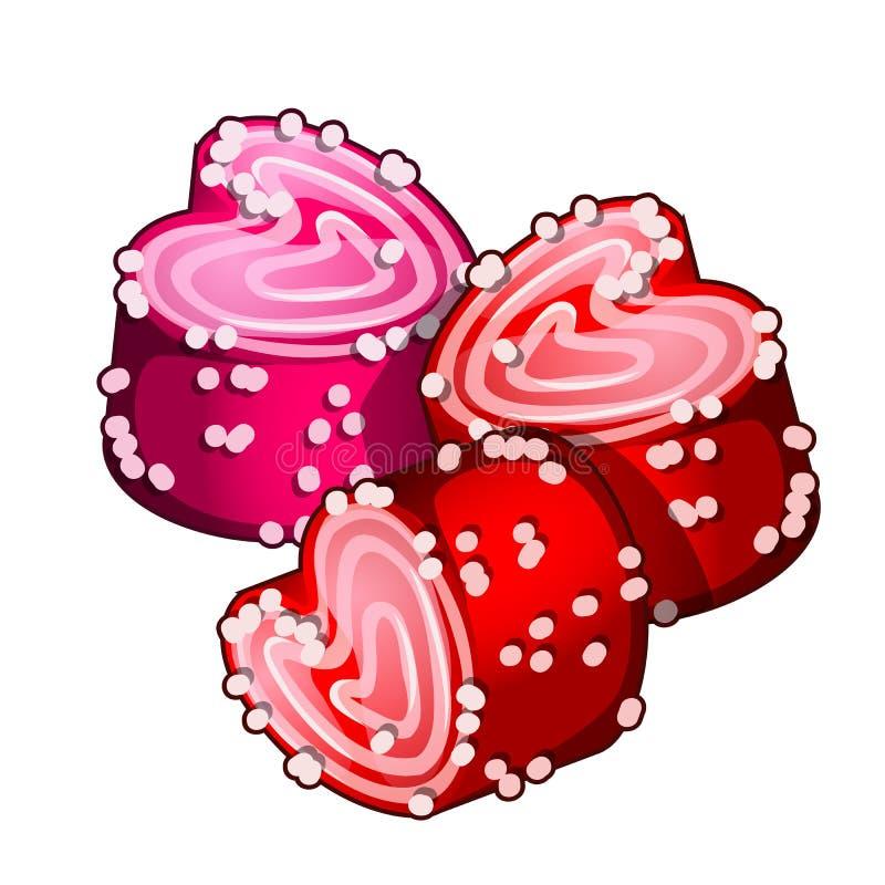Tortas en la forma de corazones con la confitura Pasteles hechos en casa deliciosos románticos para el día de tarjetas del día de stock de ilustración
