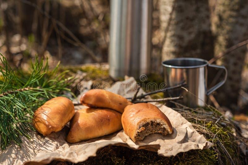 Tortas hechas en casa frescas de la empanada de la carne en el bosque imagen de archivo libre de regalías