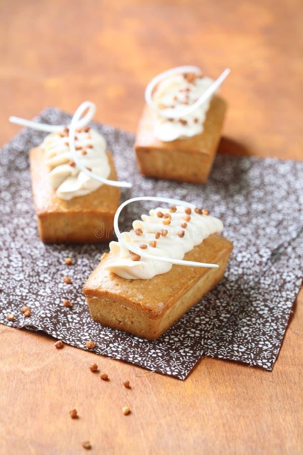Tortas rectangulares con helar blanco del queso cremoso del chocolate imágenes de archivo libres de regalías