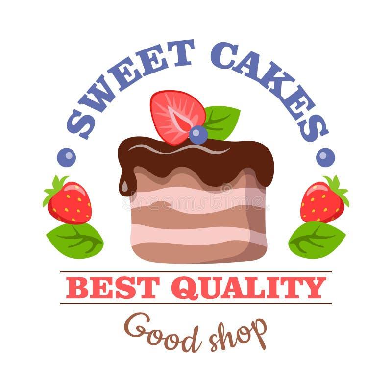 Torte dolci Migliore qualità Buon negozio Paese del colpo di colore di busines del Internet di Web di corsa del pianeta della ter illustrazione vettoriale