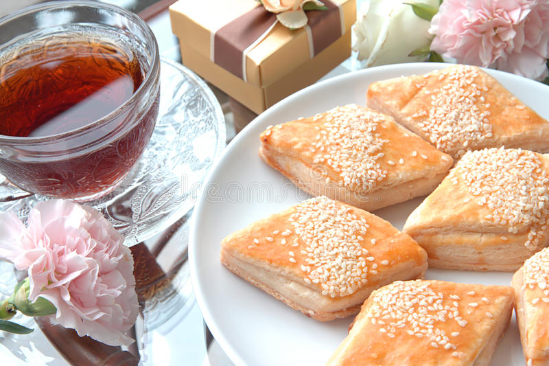 Torte e tè cinese fotografia stock