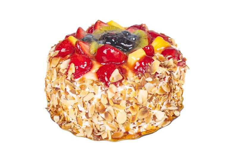 Torte för ny frukt, kaka med mandelShavings arkivbild