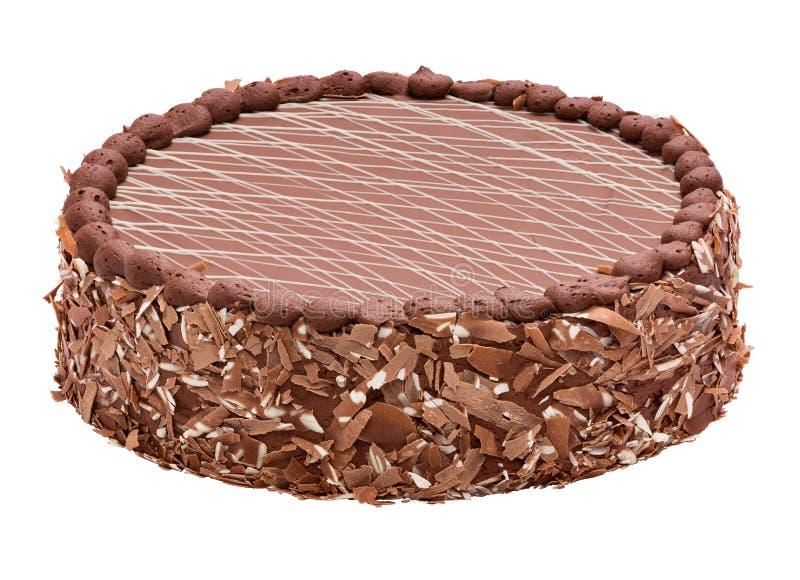 Torte fin de chocolat au lait - durcissez avec le dessus rayé photographie stock libre de droits