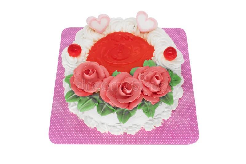 Torte med hjärtor och rosor royaltyfri fotografi
