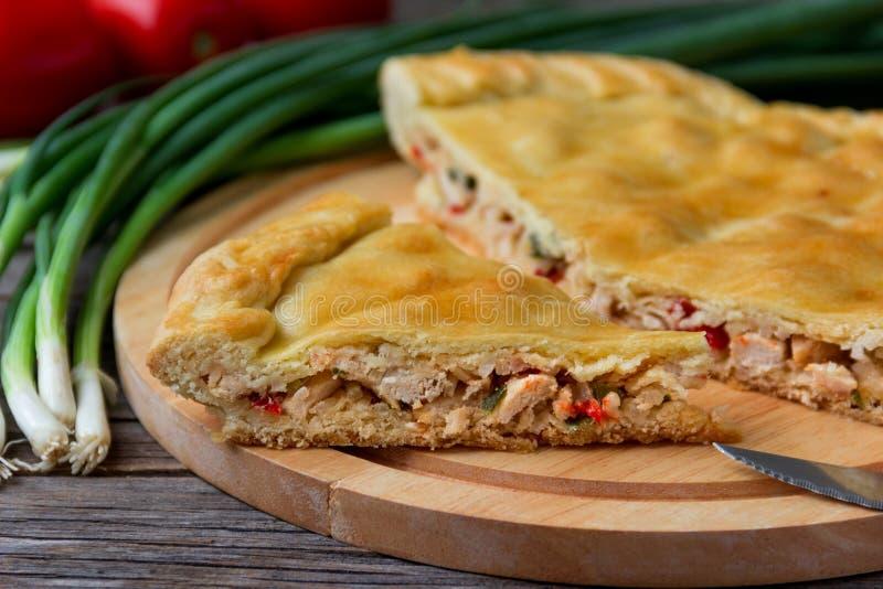 Torte mit Fleisch und Zwiebeln stockfotografie
