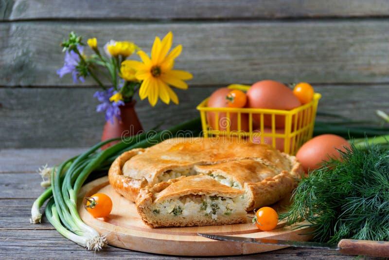 Torte mit Fleisch und Zwiebeln lizenzfreie stockfotografie