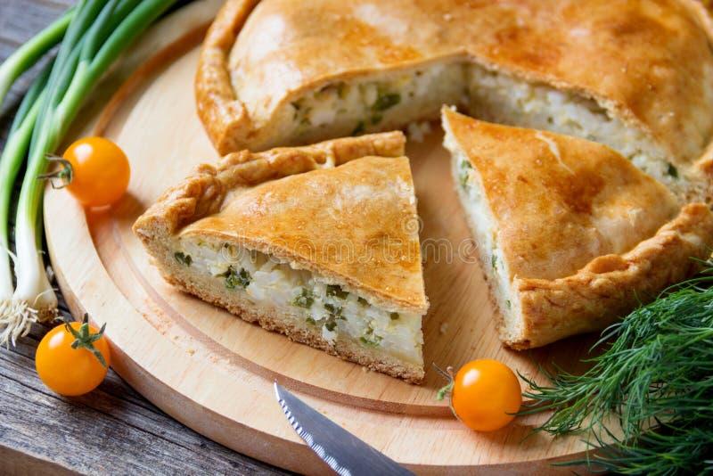 Torte mit Fleisch und Zwiebeln stockbilder