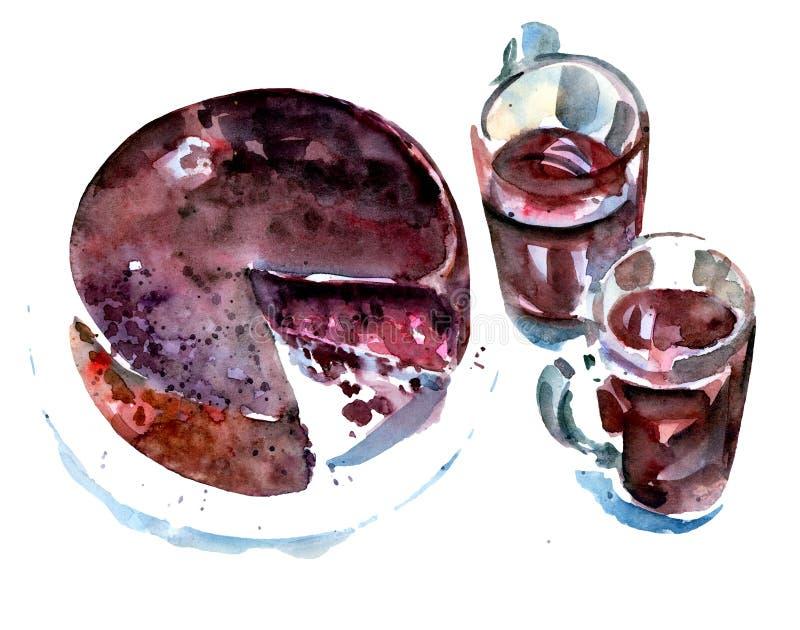 Torte und Kaffee - Skizze stock abbildung