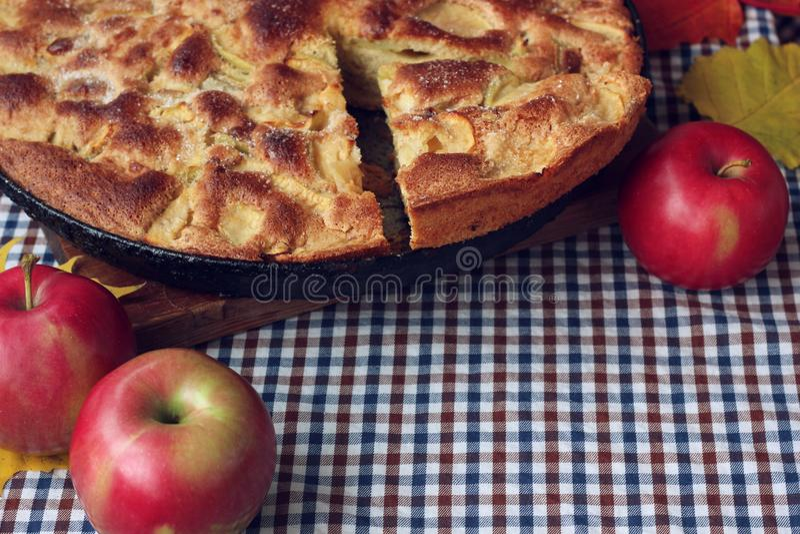 Torte von Äpfeln charlotte Herbstlebensmittelstillleben lizenzfreie stockfotografie