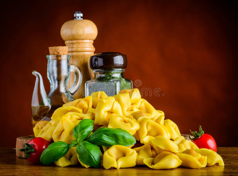 Tortellini Pasta with Cooking ingredients royalty free stock photo