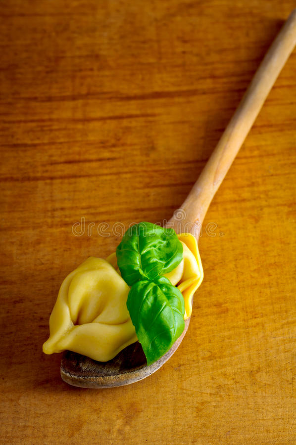 Download Tortellini on wooden spoon stock image. Image of cooking - 21222343