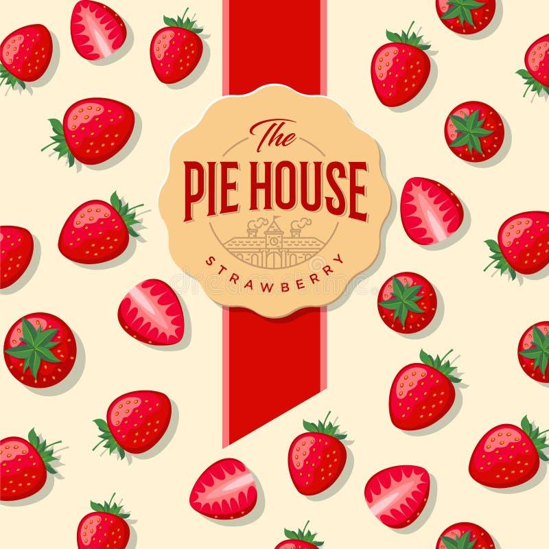 Tortenhausverpackung Aufkleber für Torte Erdbeere nahtlos stock abbildung