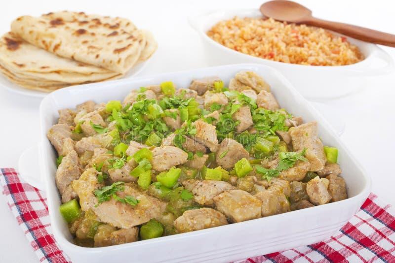 Tortiglii del riso spagnolo di Chili Verde Green Mexican Food fotografia stock