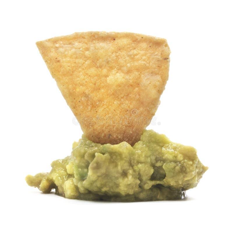Tortilha isolada Chip On Guacamole Dip imagem de stock