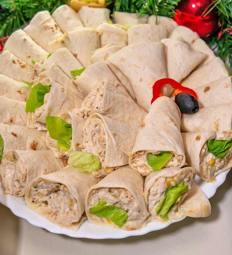Tortilla, burritos, kanapki przekręcał rolki obrazy royalty free