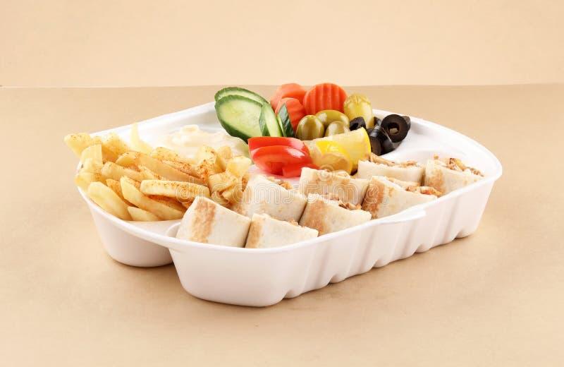 Tortilla chicken shawarma meal two wrap sandwich royalty free stock photos