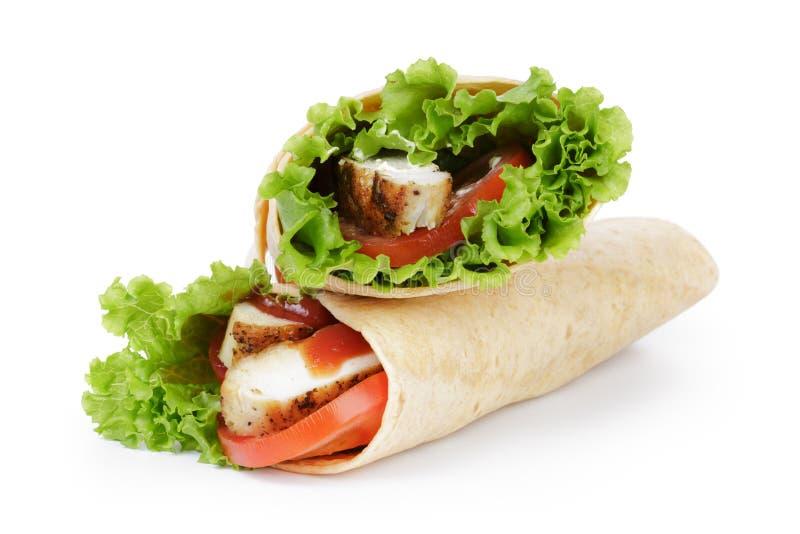 Tortilla chicken wraps stock photo