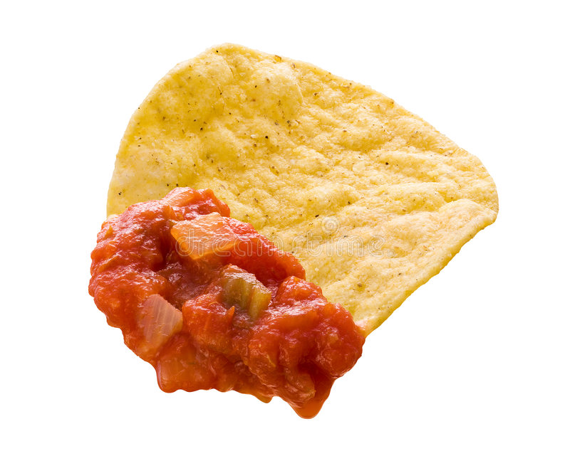 Tortilla Chip & Salsa (with clipping path). Chips & Salsa isolated on a white background with a clipping path. Isolation is on a transparent layer in the PNG royalty free stock images