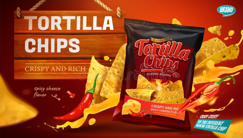 Tortilla chips ads. With cheese sauce flying in the air in 3d illustration royalty free illustration