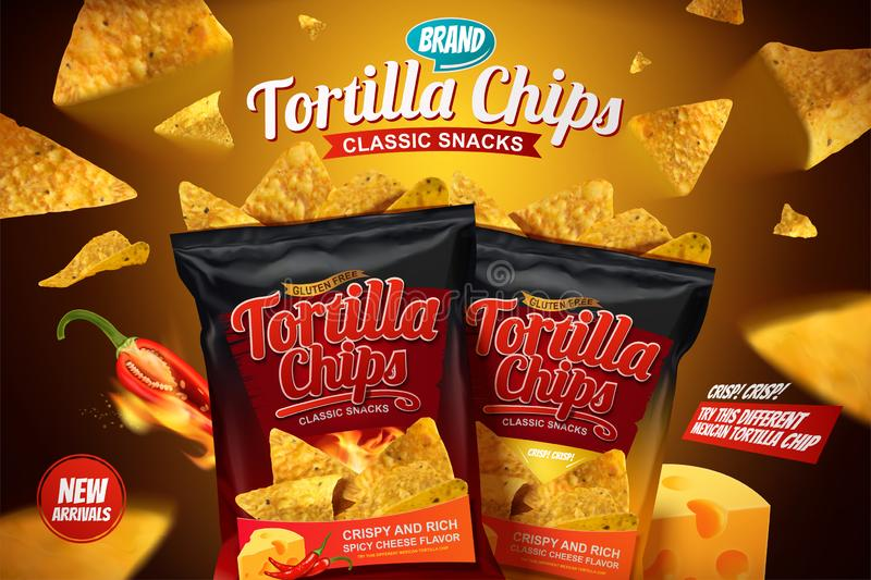 Tortilla chips ads. With corn chips flying in the air in 3d illustration vector illustration