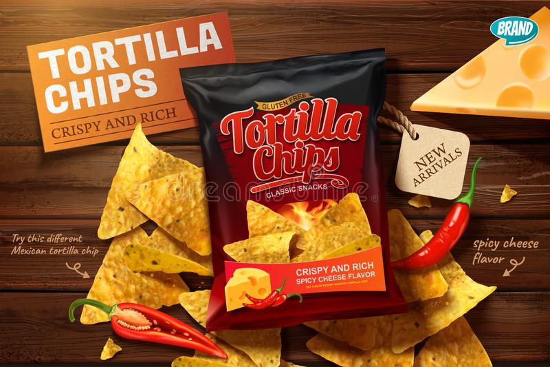 Tortilla chips ads. With corn chips on wooden table in 3d illustration royalty free illustration