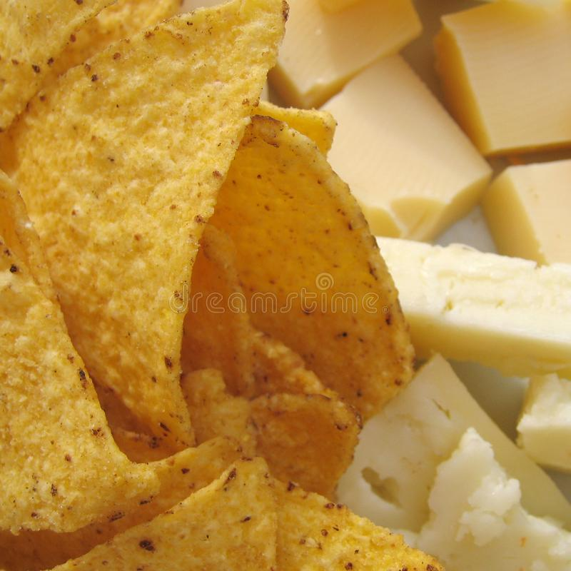 Tortilla chips and cheese stock photo