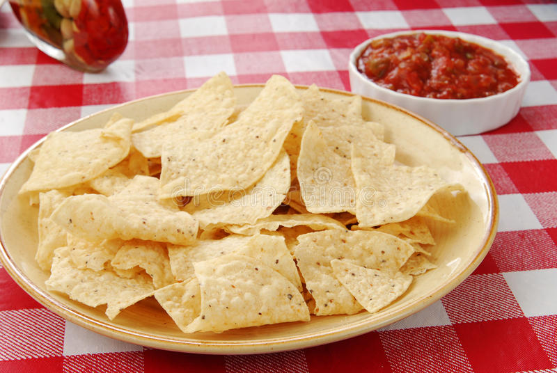 Tortilla chips with salsa stock photography