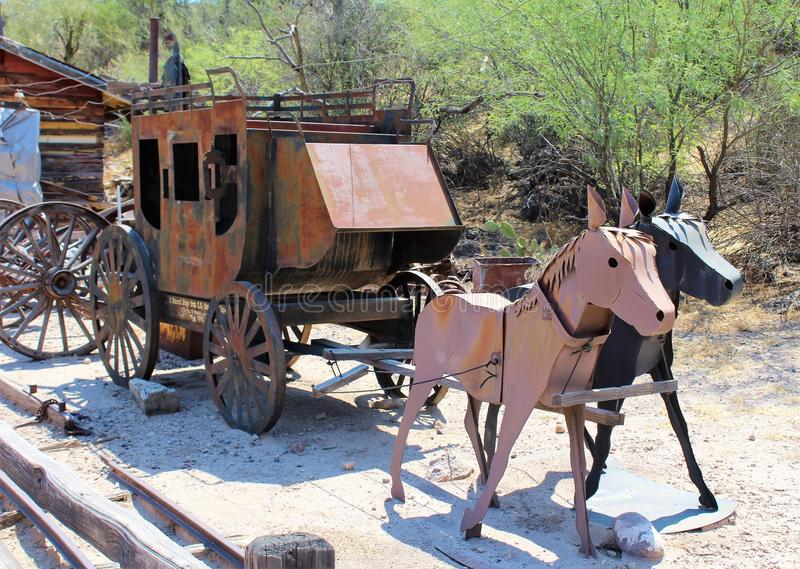Tortilla Flat Town. Stagecoach from Tortilla Flat town a small unincorporated community in the Arizona desert stock images