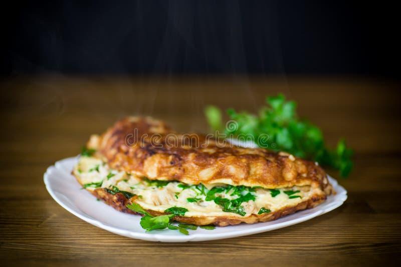Tortilla frita con la coliflor y verdes en una placa fotografía de archivo libre de regalías