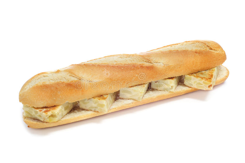 Tortilla hiszpańska kanapka De Patatas zdjęcia stock