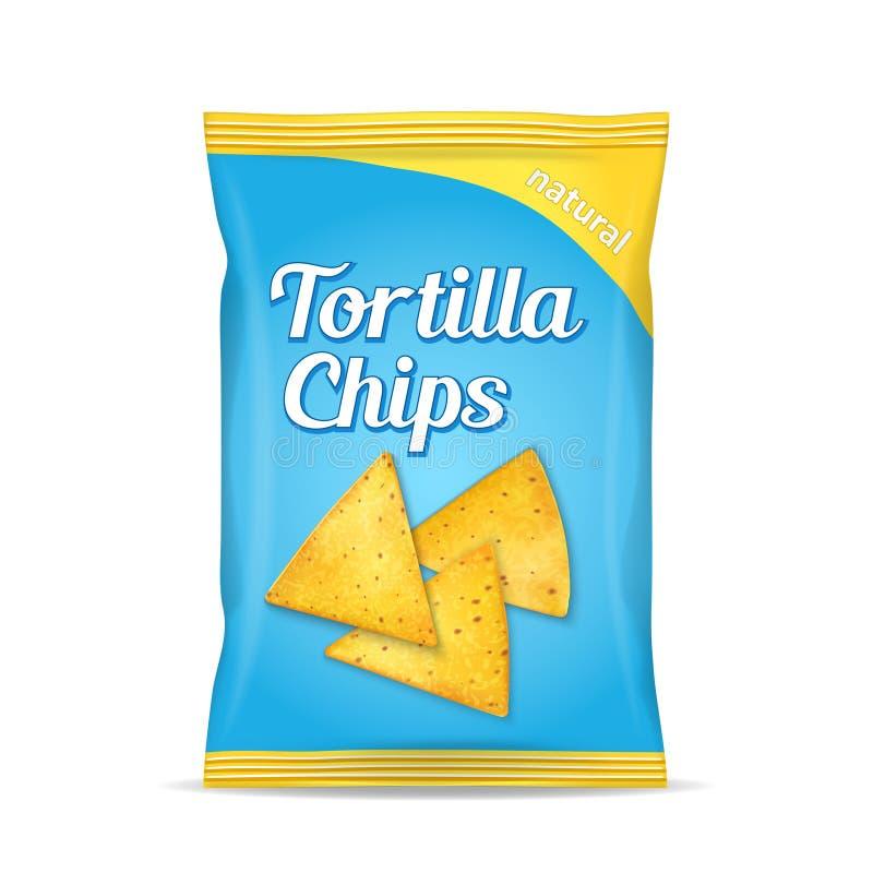 Tortilla kukurydzanych układów scalonych paczki torba, odosobniona na białym tle obraz royalty free