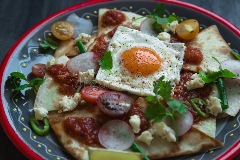 Tortilla mexicaine de Chilaquiles avec le Salsa de tomate, le poulet et le plan rapproché d'oeufs d'un plat vue horizontale d'en  photographie stock libre de droits