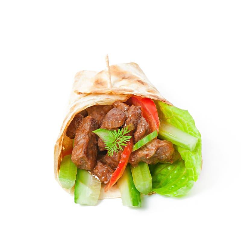 Tortilla opakunki z mięsem obrazy stock