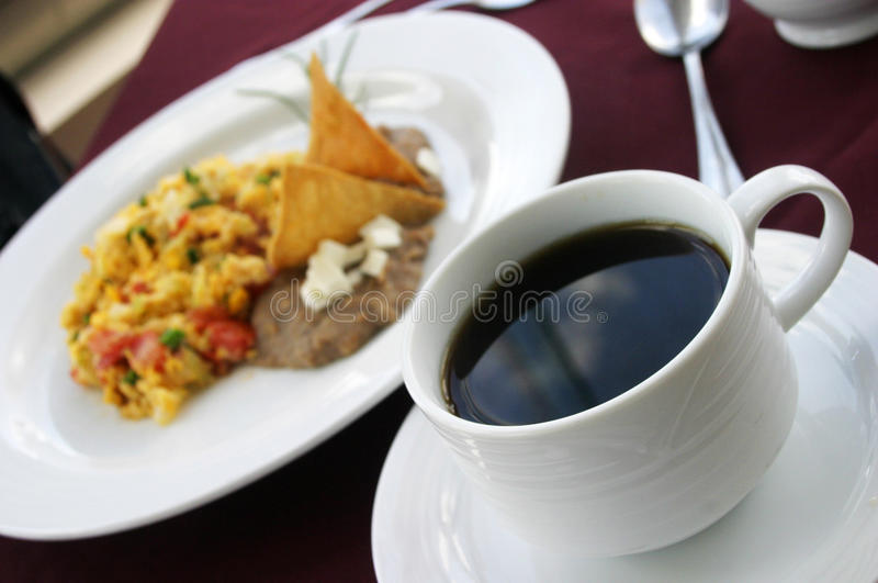 Tortilla soup and coffe stock image