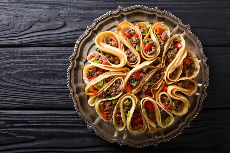 Download Tortilla Stuffed With Meat Beef, Peppers And Onions Closeup. Hor Stock Image - Image of background, crepe: 106941177